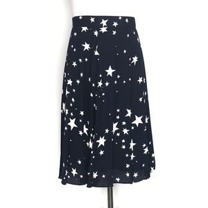 J. Crew Skirts - J. Crew Navy Star Print Pleated Midi Skirt NWT 6